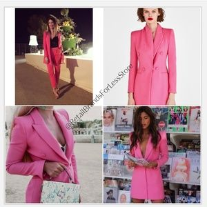 ZARA Pink Frock With Welt Pockets Blazer Coat